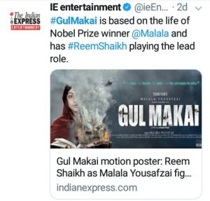 The Indian Express's Tweet about Malala Movie
