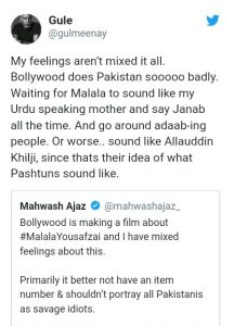 a pakistani tweeter user against malala movie By India