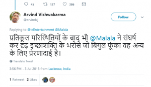 an indian twitter user on malala movies in india