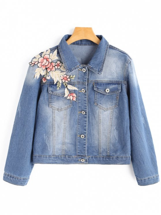 Flower applique pocket denim jacket